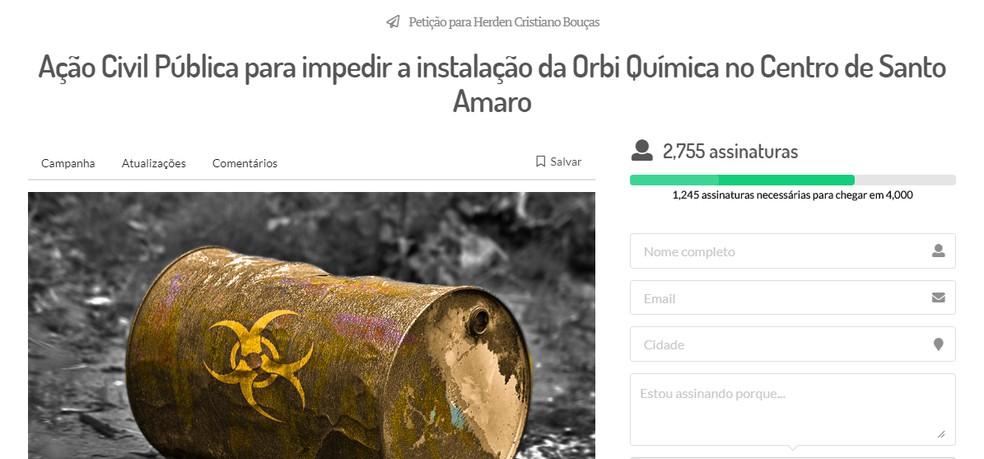 Petição pública foi feita para impedir instalação da indústria — Foto: Reprodução/TV Bahia