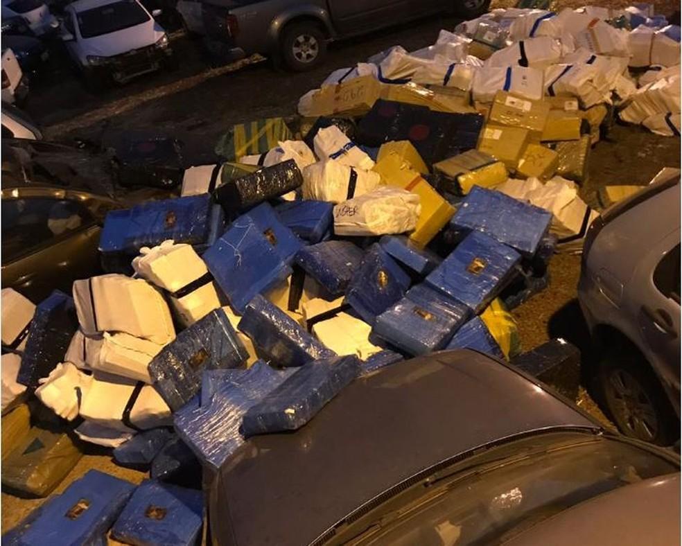 Polícia Civil apreendeu 8 toneladas de droga em Ponta Porã, MS — Foto: Polícia Civil/Divulgação