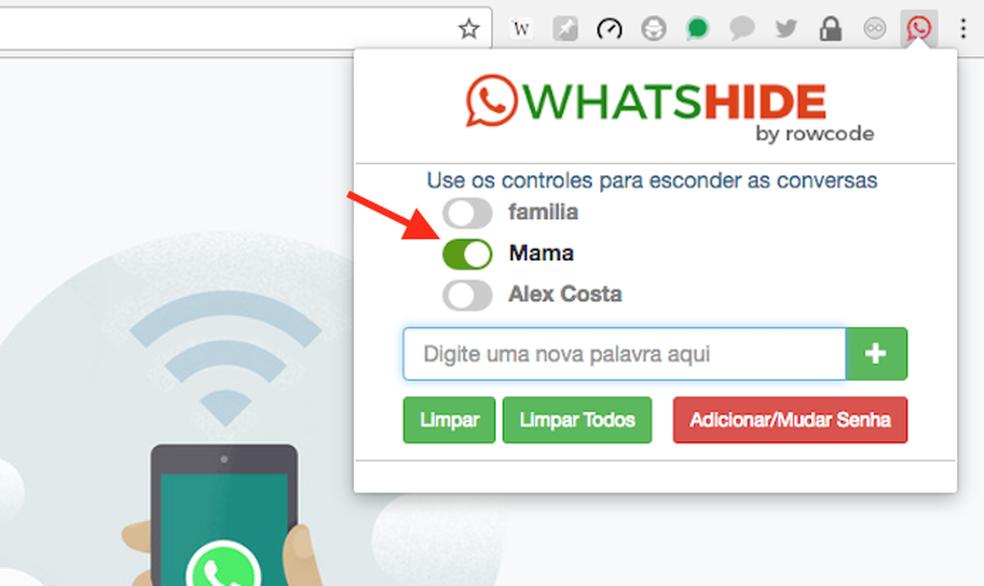 Opção para desativar a ocultação de uma conversa no WhatsHide para Google Chrome (Foto: Reprodução/Marvin Costa)
