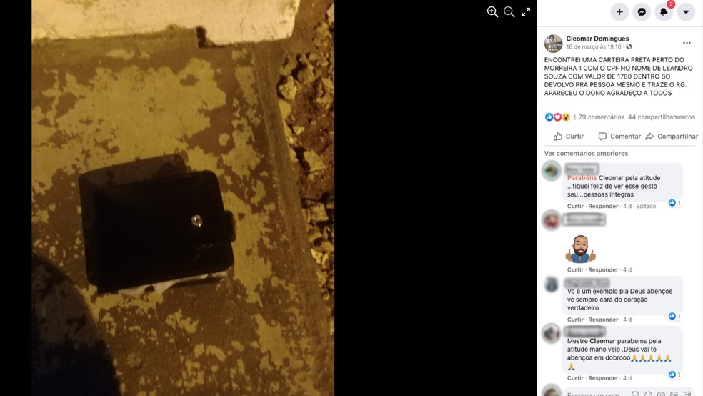 José fez um post, o que foi o suficiente para achar o dono da carteira. — Foto: Reprodução/Facebook