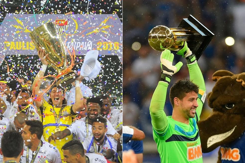 Cássio levanta troféu do Paulista de 2018, enquanto Fábio, mais novo, comemora o Brasileiro de 2014 — Foto: GloboEsporte.com