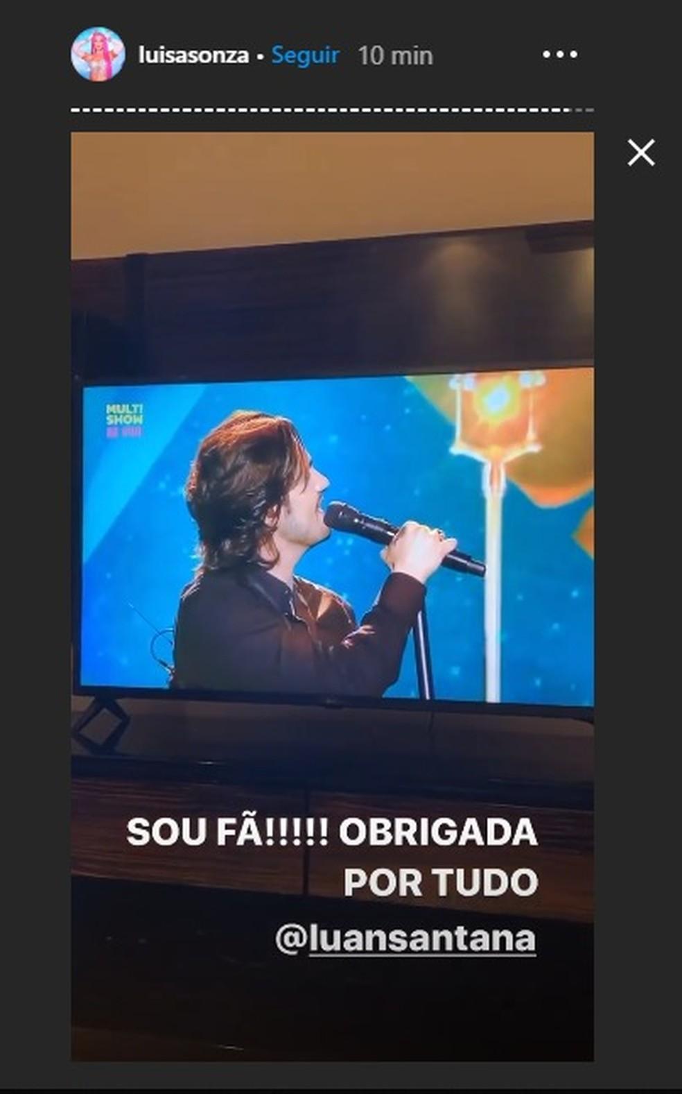 Luísa Sonza agradeceu a participação — Foto: Reprodução/Instagram