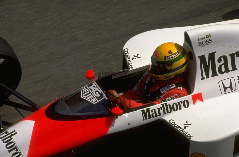 Ayrton Senna rumo à vitória no GP de Mônaco de 1989 — Foto: Getty Images