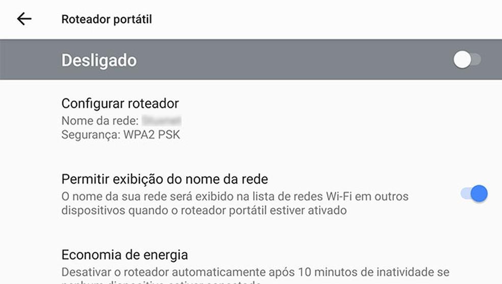 Configuração da função de 'ponto de acesso' ou 'roteador portátil' no Android, que permite compartilhar a conexão de internet móvel por Wi-Fi — Foto: Reprodução