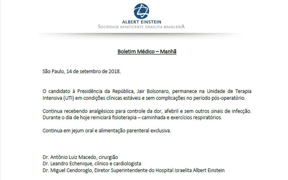 Boletim médico de Jair Bolsonaro divulgado na manhã desta sexta-feira (14) — Foto: Reprodução