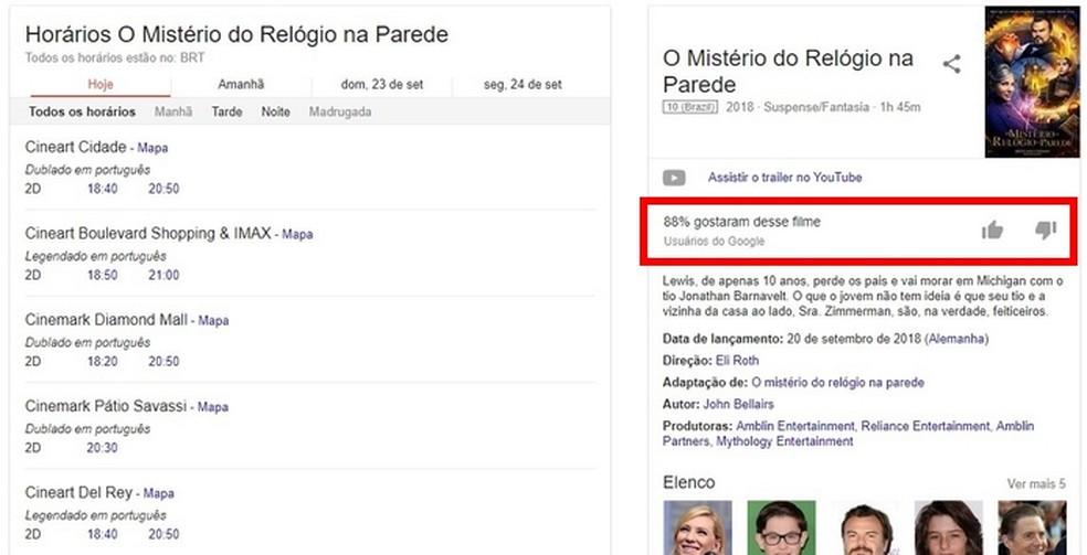 Confira lista do Google com filmes em cartaz, organizada por horário do cinema — Foto: Reprodução/Raquel Freire