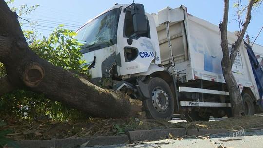 Motorista de caminhão de lixo perde o controle do veículo e bate em árvore em avenida de Campinas