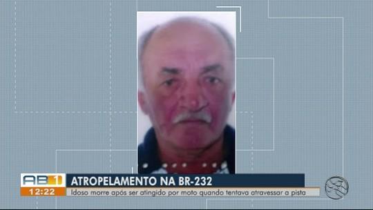 Idoso morre após ser atropelado por moto na BR-232, em São Caetano