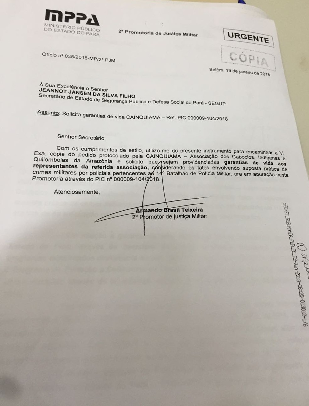 Documento pede proteção aos membros da Associação dos Caboclos, indígenas e Quilombolas da Amazônia após denúncias. (Foto: Armando Brasil / Arquivo Pessoal)