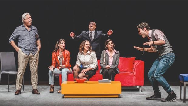 Elenco do espetáculo 'Baixa Terapia' em cena de peça (Foto: Divulgação)