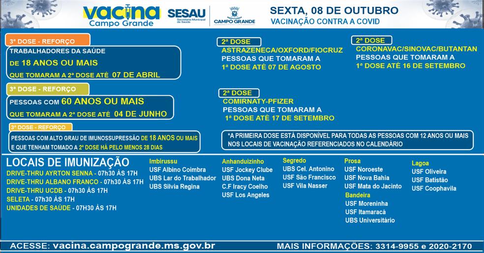 Pontos de imunização em Campo Grande nesta sexta (8).  — Foto: PMCG/Reprodução