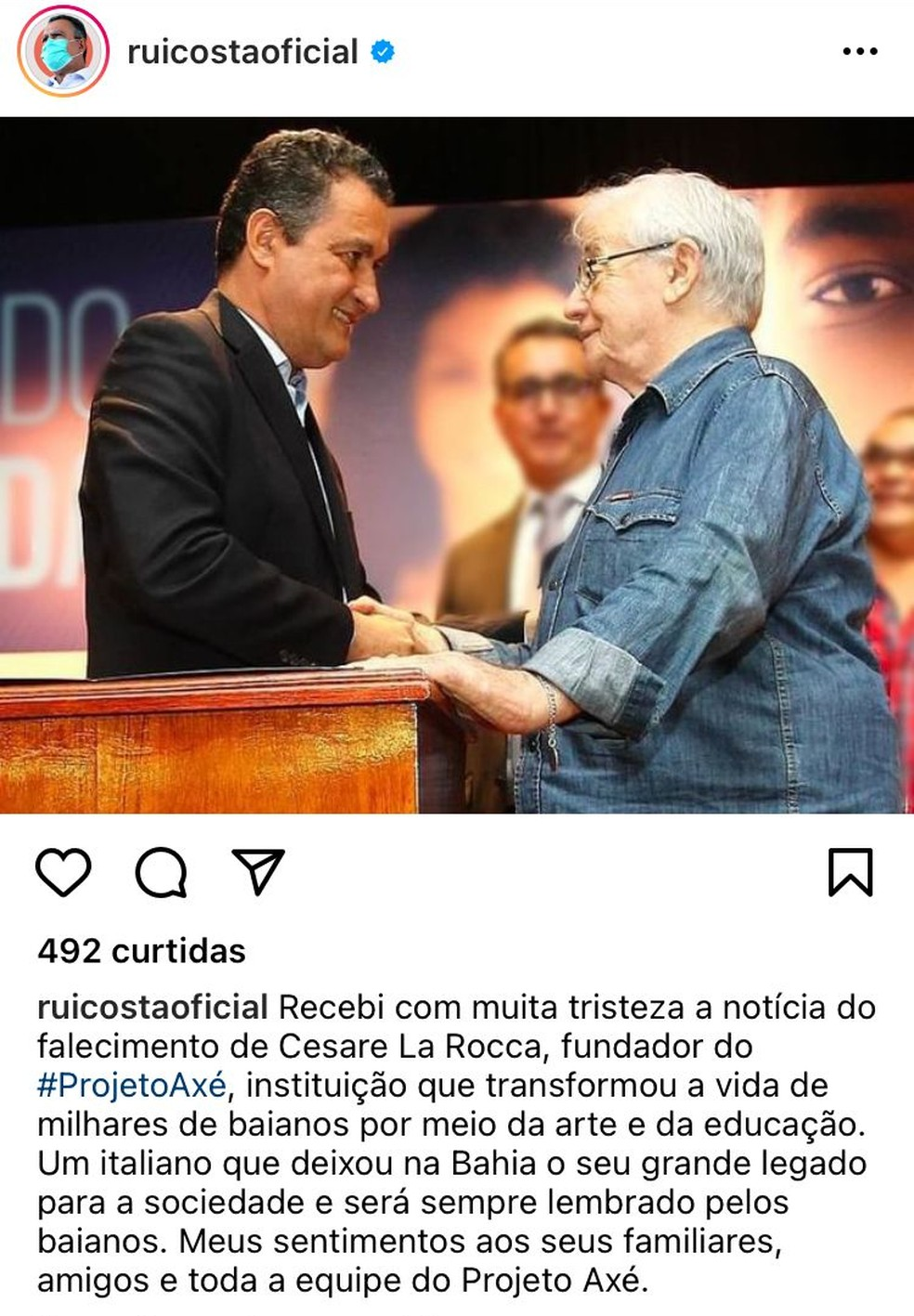 Rui Costa lamenta morte do fundador do Projeto Axé — Foto: Reprodução/Redes sociais