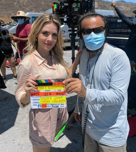 Monique Alfradique e o diretor Halder Gomes  (Foto: Arquivo pessoal)