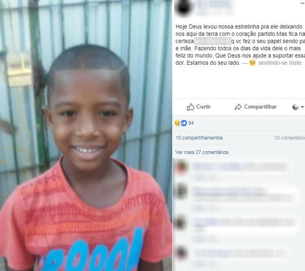 Parentes e amigos da família de Brian Gabriel Alves, de 6 anos, deixaram mensagens de conforto nas redes sociais (Foto: Facebook/Reprodução)