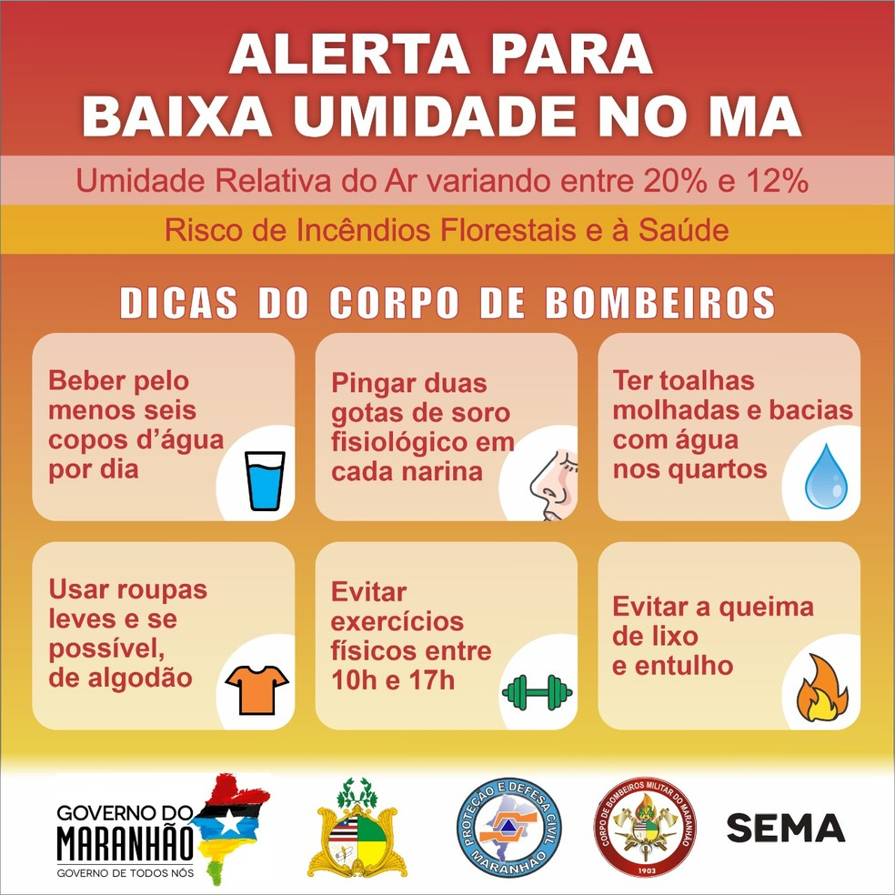Banner traz informações para prevenir problemas durante o período de estiagem — Foto: Divulgação/CBMMA.