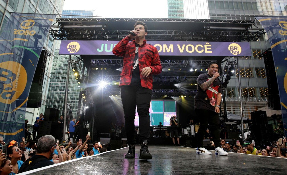 Matheus & Kauan no BR Day em Nova York (Foto: Globo/ Luiz C. Ribeiro)