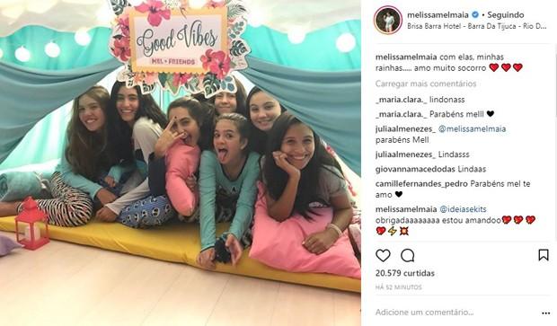 Mel Maia celebra 13 anos com amigas em festa do pijama (Foto: Reprodução/Instagram)