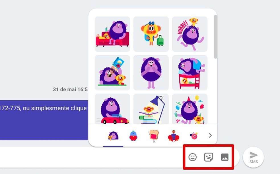 Enviando emojis, figurinhas e fotos (Foto: Reprodução/Helito Bijora)