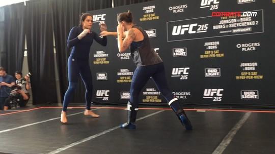 Valentina dança, e Amanda Nunes joga capoeira em treino aberto do UFC 215