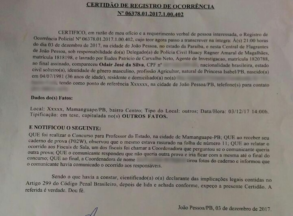 Candidato registrou Boletim de Ocorrência denunciando prova rasurada, na PB (Foto: Odair José da Silva/Arquivo Pessoal)