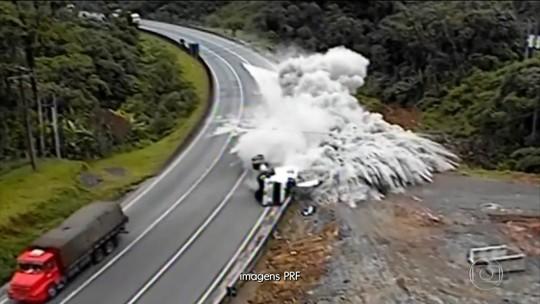 Motoristas de caminhão fazem gambiarra nos freios e arriscam a vida
