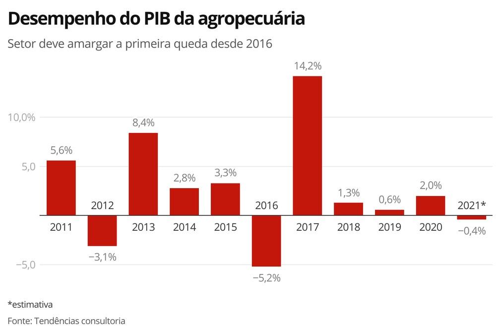 Desempenho do PIB da agropecuária — Foto: Economia G1