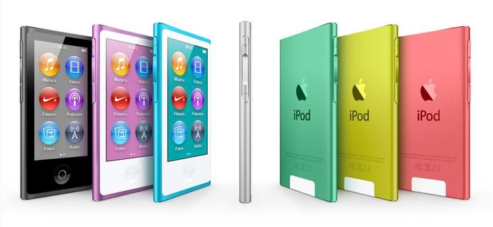 iPod Nano tem tela touchscreen e pode ser sincronizado com o Spotify, mas funções são limitadas (Foto: Divulgação/Apple)