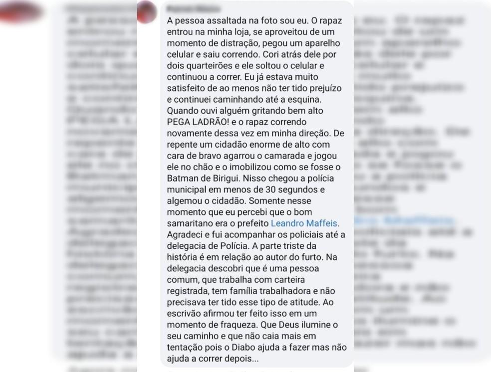 Vítima fez publicação nas redes sociais sobre o caso em Birigui — Foto: Reprodução/Facebook