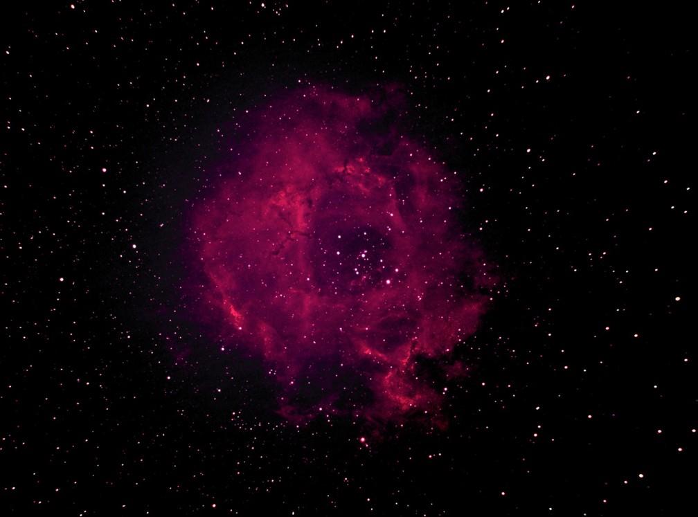 Nebulosa da Rosa, na constelação Monoceros, vista no céu de Brasília — Foto: Ronaldo Piacenti Junior/Arquivo pessoal