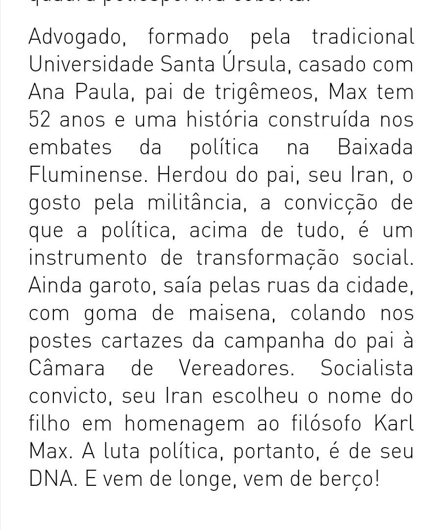perfil do deputado Max Lemos