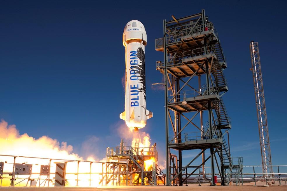 Foguete New Shepard, da Blue Origina, foi relançado na sexta-feira (22) — Foto: Blue Origin/Divulgação