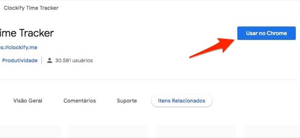Ação para preparar o download da extensão Clockify Time Tracker no Chrome — Foto: Reprodução/Marvin Costa