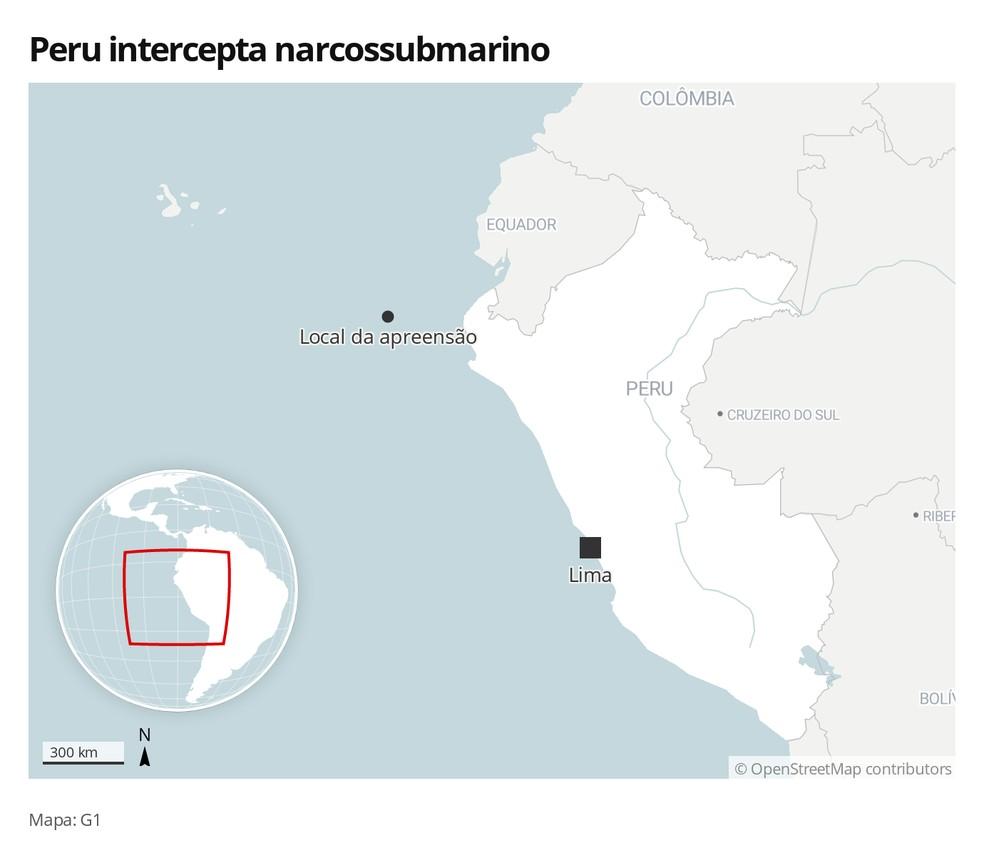 Mapa mostra onde o submarino foi interceptado — Foto: G1