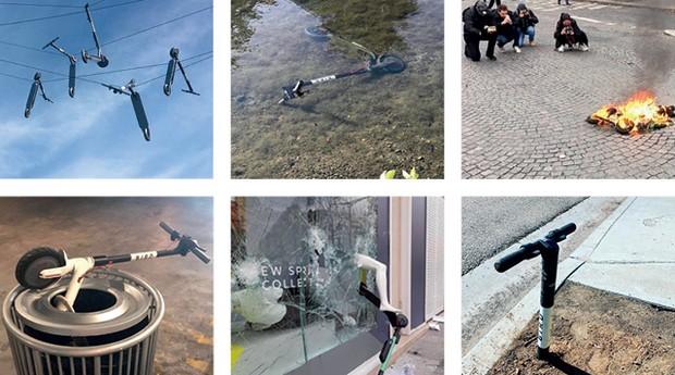 A conta de Instagram  @BirdGraveyard reúne imagens que atacam a onda dos patinetes elétricos (Foto: Reprodução @BirdGraveyard Instagram)