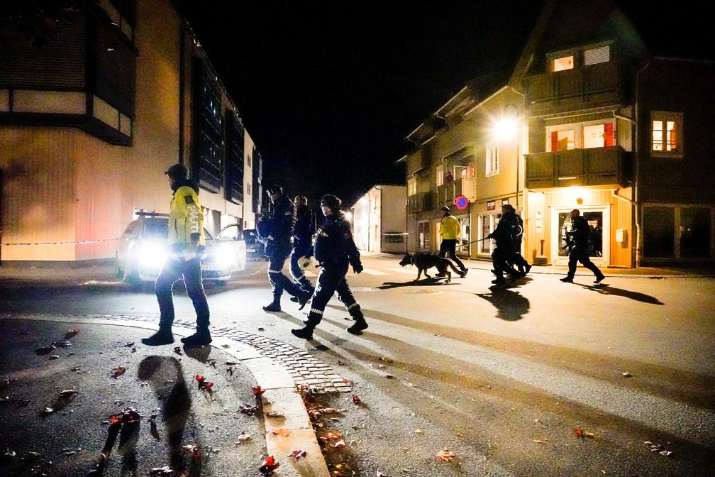 Policiais vasculham centro de Kongsberg, na Noruega, após ataque de assassino com arco e flecha nesta quarta (13) — Foto: Hakon Mosvold/NTB/via Reuters