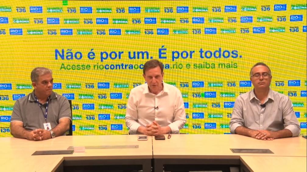 Prefeito Marcelo Crivella durante coletiva de imprensa no Rio — Foto: Reprodução/Internet