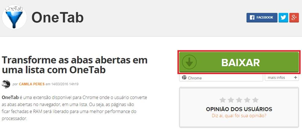 """Pressione """"baixar"""" para acessar a Chrome Web Store — Foto: Reprodução/TechTudo"""
