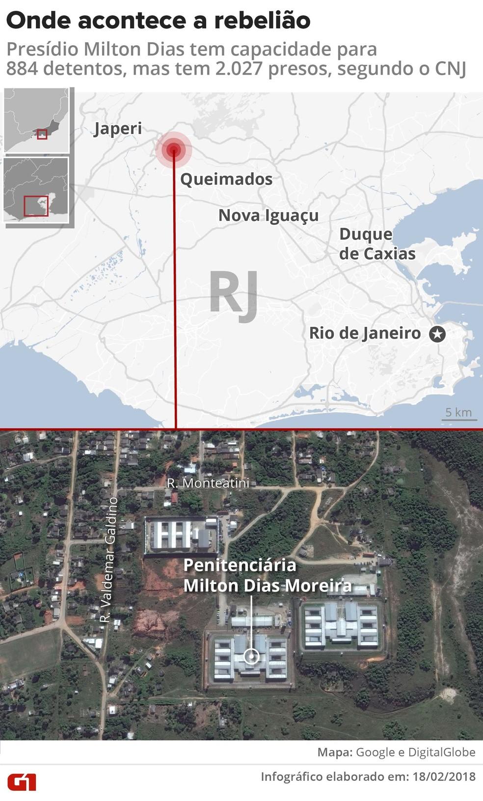 Mapa mostra localização do presídio Milton Dias, em Japeri, Baixada Fluminense, onde ocorre uma rebelião (Foto: Igor Estrella/Editoria de Arte G1)