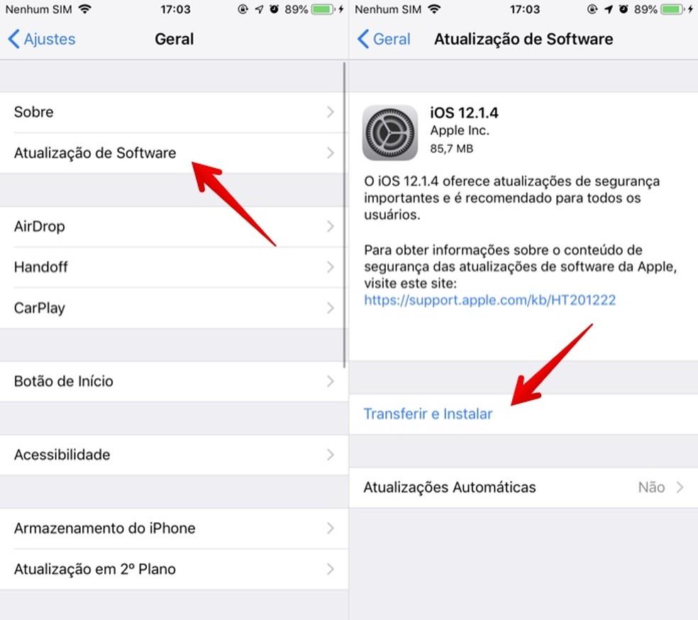 Verifique novas atualizações no iPhone — Foto: Reprodução/Helito Beggiora