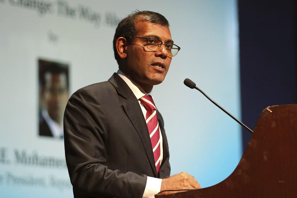 Foto de 14 de fevereiro de 2019 do ex-presidente das Maldivas e atual presidente do Parlamento, Mohamed Nasheed, durante discurso em Nova Délhi, na Índia, sobre mudanças climáticas — Foto: Manish Swarup/AP