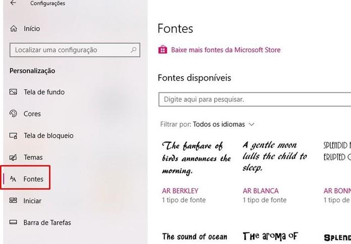 """Clique na opção """"Fontes"""" do Windows 10 (Foto: Reprodução/Taysa Coelho)"""