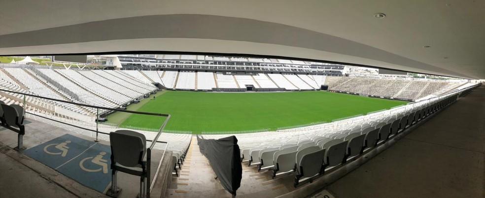 Arena Corinthians durante o período de quarentena — Foto: André Hernan