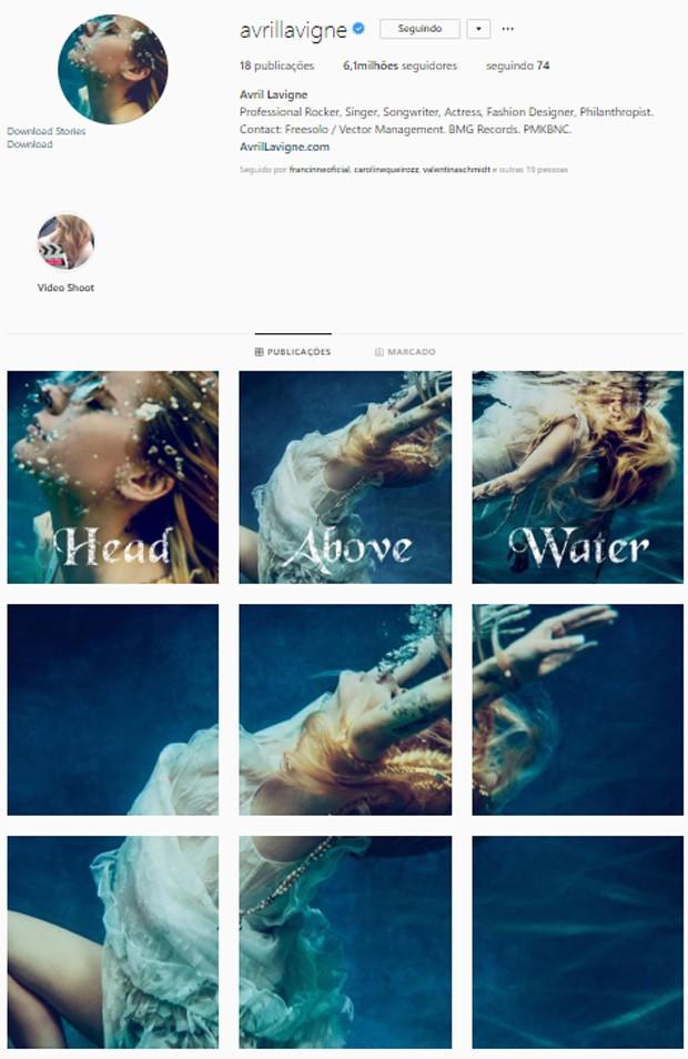 Avril Lavigne divulga capa de seu novo single, Head Above Water (Foto: Reprodução/Instagram)