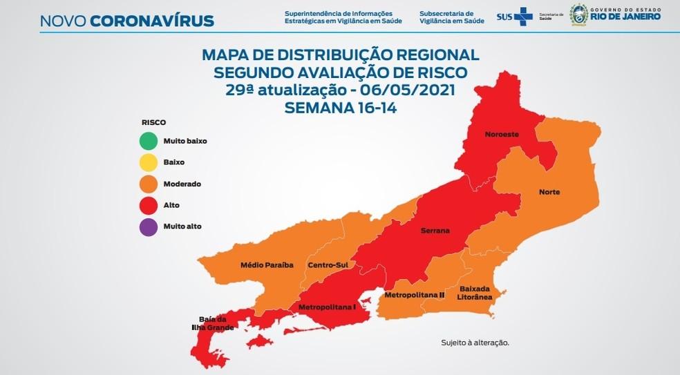 Mapa de Risco de Covid-19 no Estado do Rio, em 06/05/2021 — Foto: Divulgação