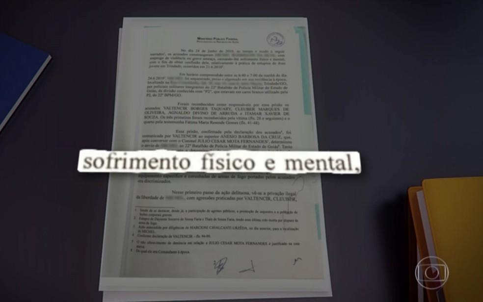 MPF apresentou denúncia contra policiais militares acusados de tortura em Goiás — Foto: Reprodução/TV Globo