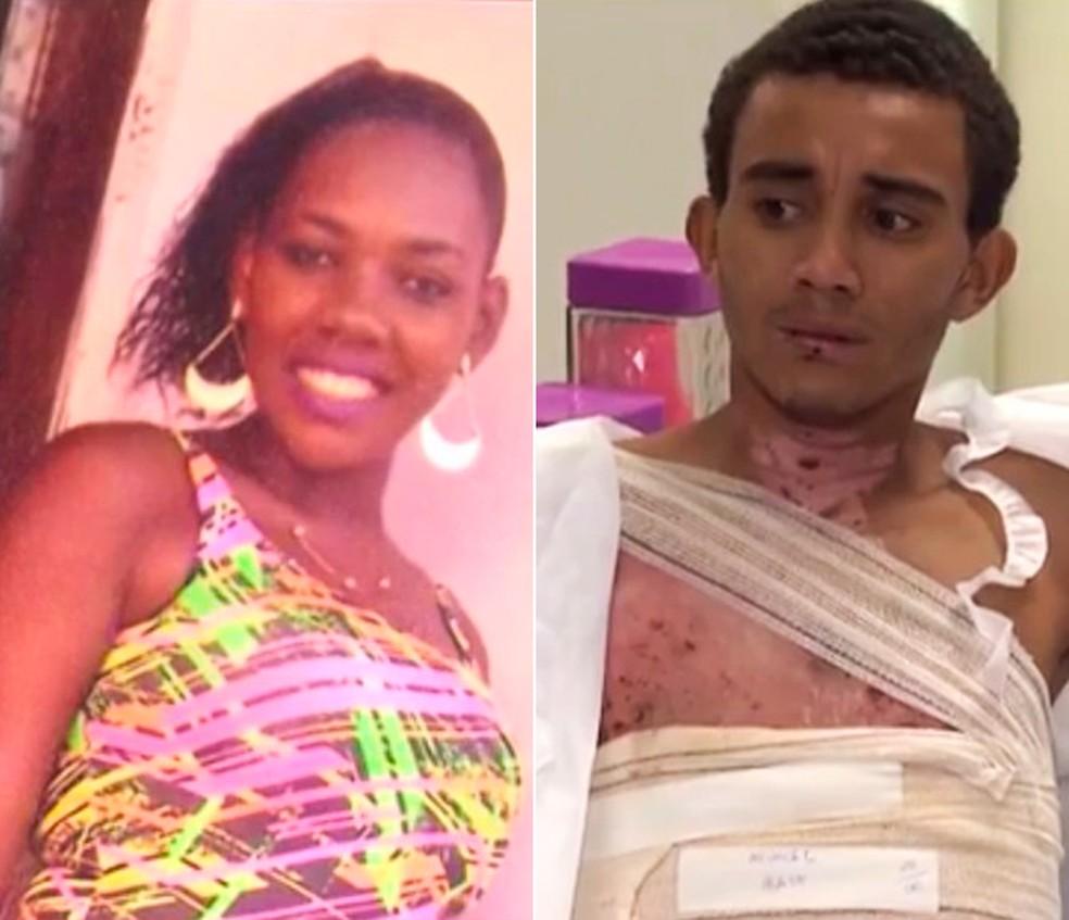 Suspeita de atear fogo no namorado em briga na BA alega ter sido agredida antes; rapaz teve 75% do corpo queimado (Foto: Reprodução/TV Subaé)