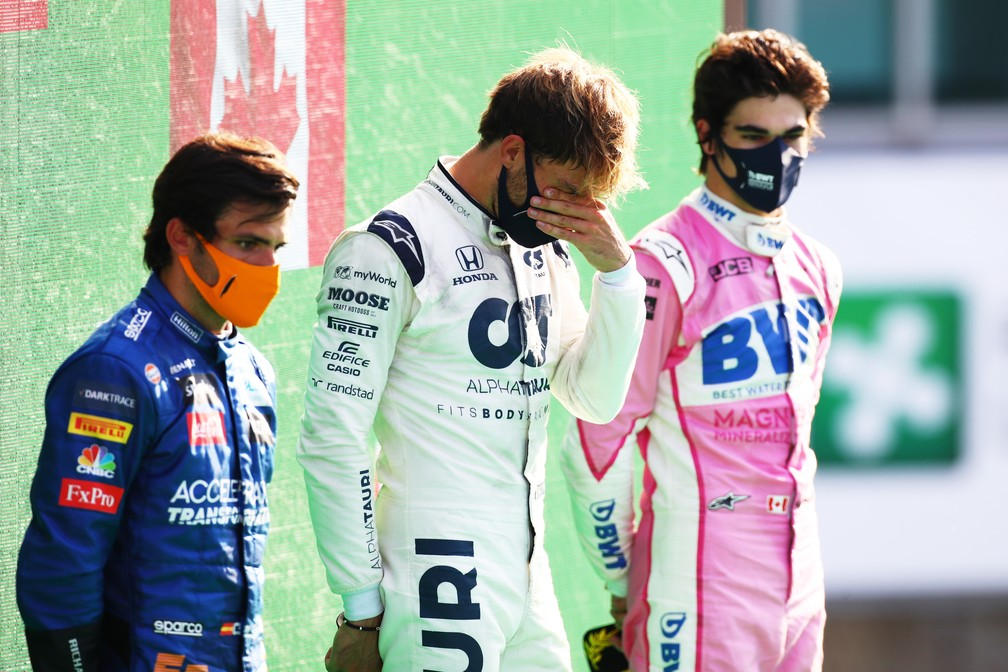 Sainz, Gasly e Stroll no pódio do GP da Itália — Foto: Getty Images