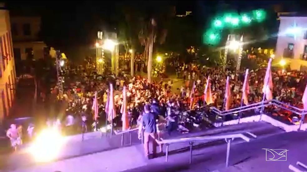 Tumulto generalizado foi registrado após o show da cantora Marília Mendonça em São Luís. — Foto: Reprodução/TV Mirante