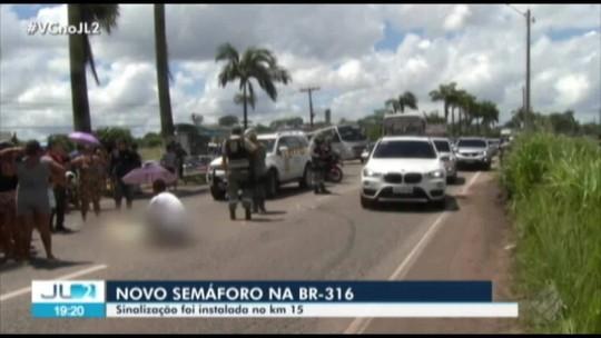 Após acidente, Detran instala novo semáforo no km 15 da BR-316, em Marituba, na Grande Belém