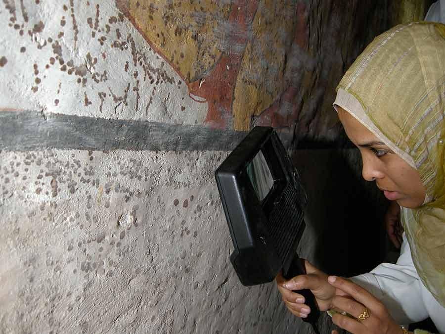 Pesquisadora analisando as condições das paredes  (Foto: Divulgação/Getty Trust/Lori Wong)